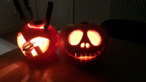Jack Skellington looks fantastic next to his more ambiguous friend.
