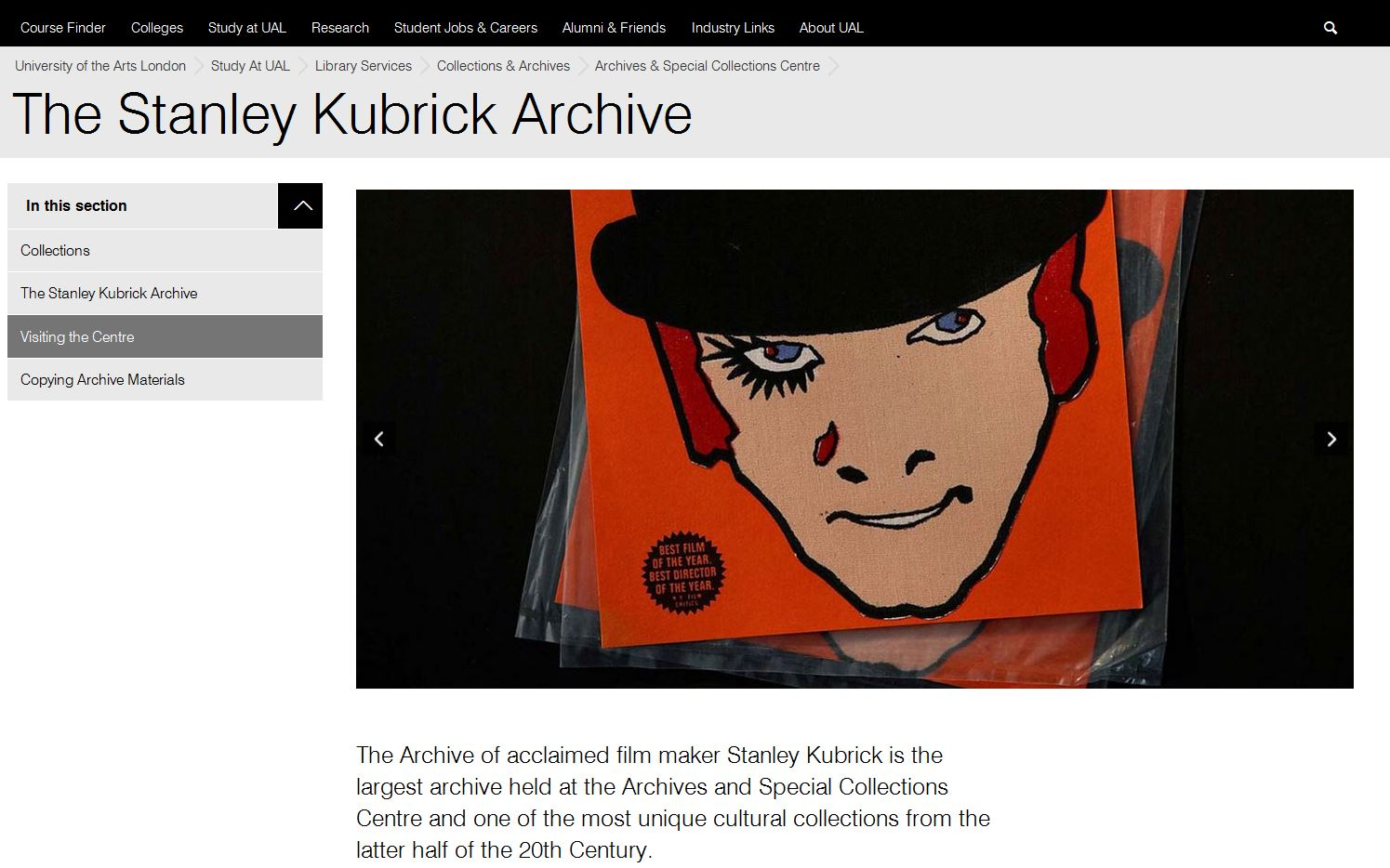 Image of Alex from A Clockwork Orange at Stanley Kubrick Archive (UAL)