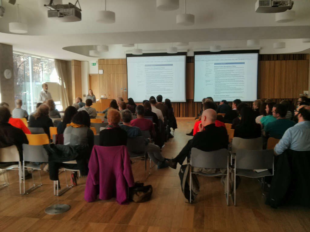 View of the audience for Geoffrey Boulton's talk as part of Open Access Week at UoE