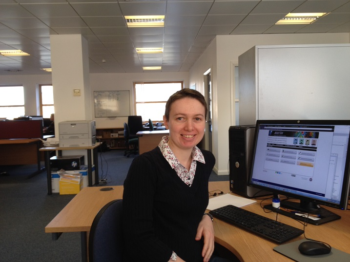 Pauline at her desk in the EDINA offices, Edinburgh