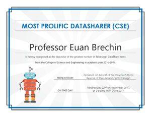 The certificate awarded to Professor Euan Brechin