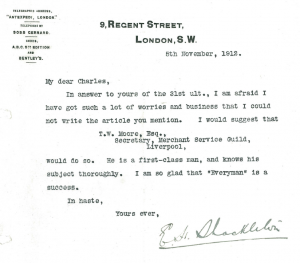 Reply from Shackleton to Charles Sarolea, November 1912 (Sarolea Collection, Sar.Coll.33)