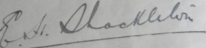 Signature of Ernest Shackleton on a letter to Charles Sarolea, 5 November 1912 (Sarolea Collection, Sar.Coll.33)