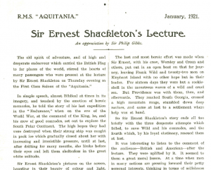 Shackleton was aboard the R.M.S 'Aquitania' in 1921 giving a talk on his Antarctic adventures (Sarolea Collection, Sar.Coll.135)