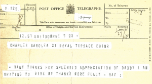 Telegram, noted Ray, from Raymond Swinford Shackleton to Charles Sarolea thanking him for an appreciation of his father (Sarolea Collection, Sar.Coll.135)