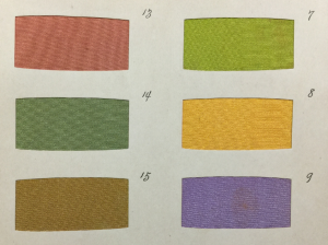 From the catalogue of silk samples from Kyoto, Japan, in Coll-1762.