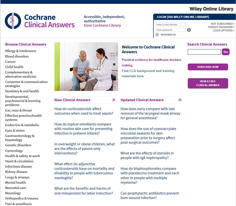 Cochrane Clinical Answers homepage