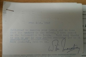 Letter from W M Macartney to New College Librarian, 1969 (GB238 AA2.1.108).