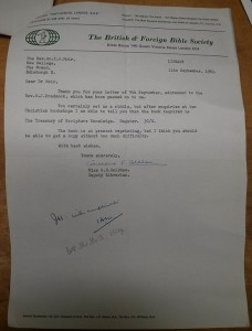 Letter from The British and Foreign Bible Society to Dr Moir, 1969 (ref. GB238 AA2.1.108).