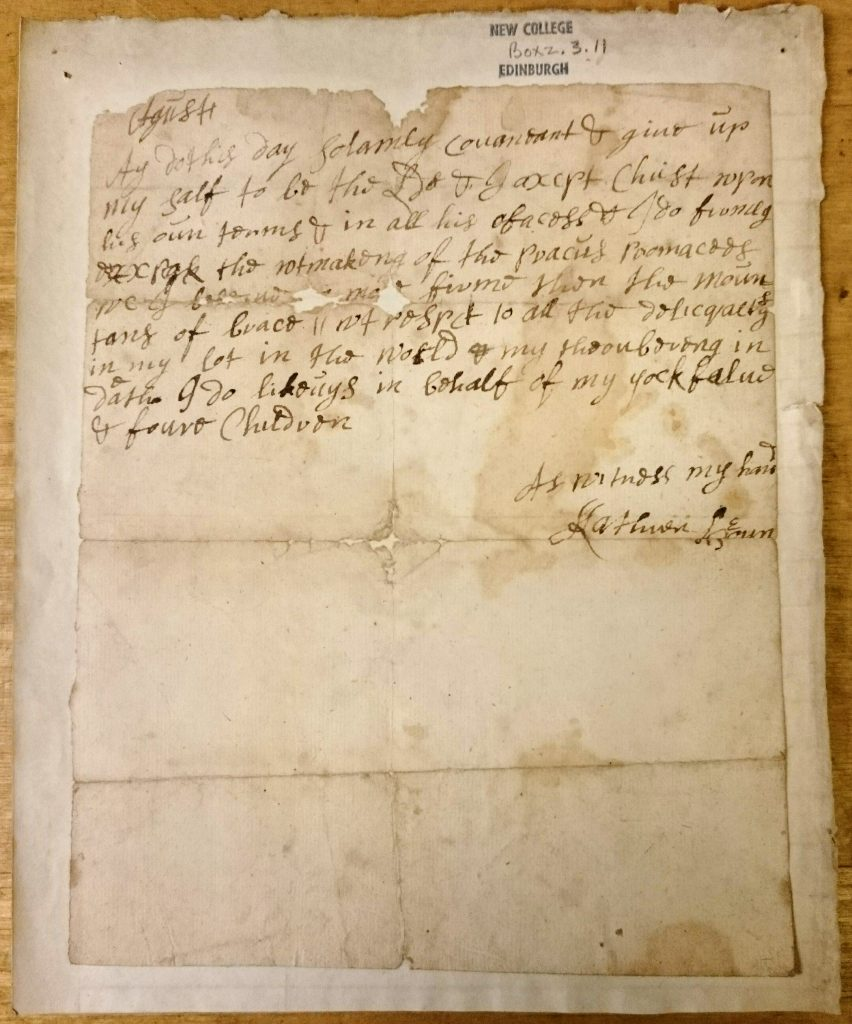 The covenant of Katherine Brown, wife of Rev. Thomas Boston, Covenanter, Ettrick. c.1713-c.1732