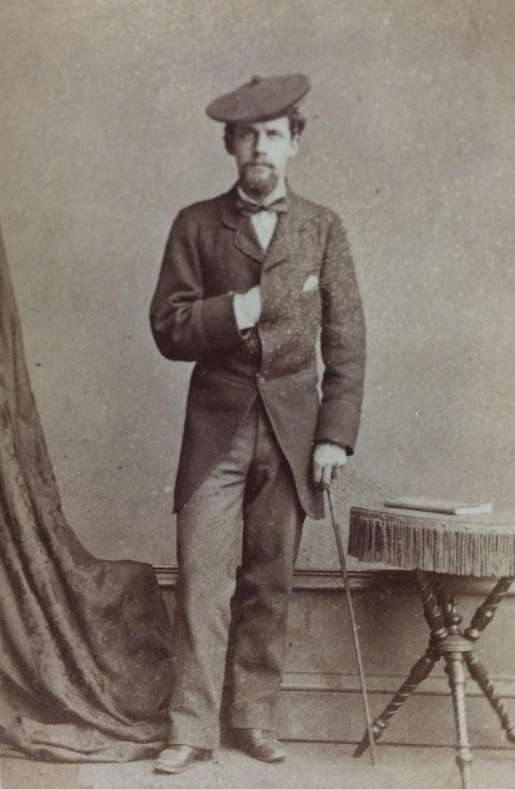 Copy of a Carte de Visite, studio portrait of Patrick Geddes, aged 24. c.1879