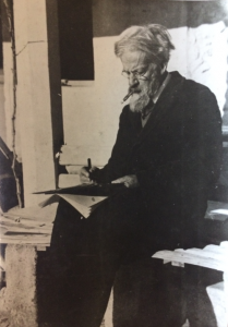 A black and white photograph showing Patrick Geddes at the Scots' College, Montpellier, France