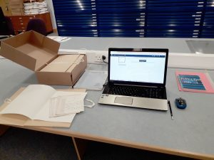 Archive cataloguing project intern work-station at the University of Strathclyde Archives and Special Collections