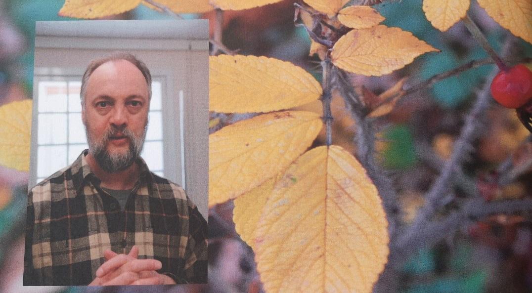 Self portrait of Iain inset on an image of autumn foliage