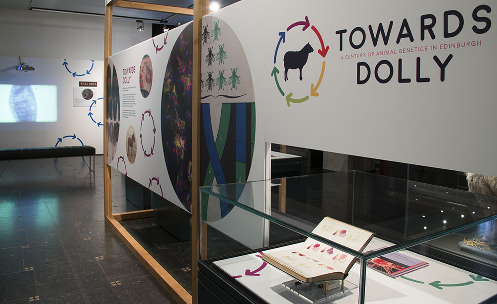 Collection: University of Edinburgh; Persons: ; Event: Towards Dolly; Place: Main Library; The University of Edinburgh; Category: Science; Genetics; University Exhibition; Description: The opening night of the Towards Dolly exhibition in the exhibition room on the ground floor of the Main Library, 30th July 2015.