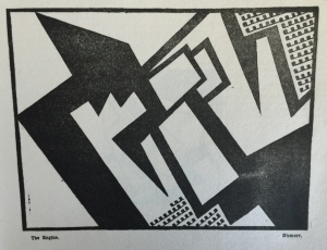 One of the signatories to the Vorticist manifesto was Jessica Dismorr (1885-1939). Her illustrations show a sharing of the involvement with the dynamism of the machine-age city. In 'Blast', issue 2, July 1915, in the A. H. Campbell Collection.