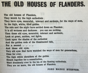 The poem, 'The old houses of Flanders' by Ford Madox Hueffer (Ford Madox Ford) in 'Blast', issue 2, July 1915, in the A. H. Campbell Collection.
