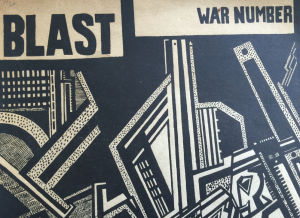 Detail from the 'puce-coloured' front cover of 'Blast', issue 2, July 1915, in the A.H. Campbell Collection.