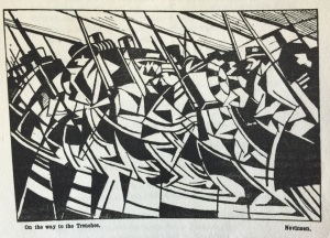 'On the way to the trenches' by Nevinson, in 'Blast' issue 2, July 1915, in the A. H. Campbell Collection.