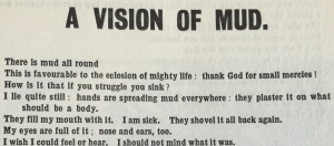 The poem, 'A vision of mud' by Helen Saunders in 'Blast', issue 2, July 1915, in the A. H. Campbell Collection.