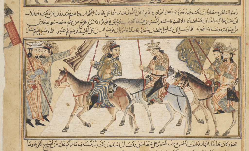 Detail of miniature showing the Samanid king Al-Muntasir crossing the frozen river Jayhun (Syr Darya) in central Asia.  Or.Ms 20 f.122 r