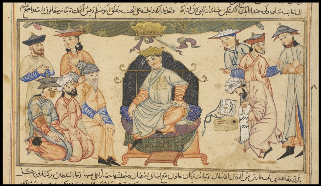 Detail of miniature showing Sultan Berk-Yaruq ibn Malik-Shah. Ruler of the Seljuk Empire from 1093-1105.    Or.Ms 20 f.139 v