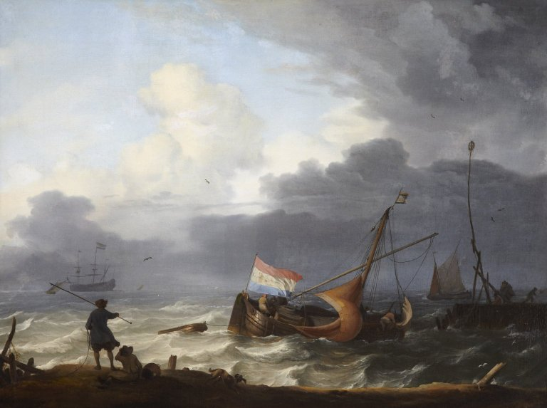 Ludolf Backhuysen (1630-1708), A Squall: A lugger running into harbour, oil on canvas, 46.4 x 61cm