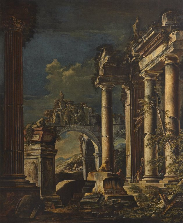 Giovanni Ghisolfi, Ruins and Figures oil on canvas, 97 x 118 cm
