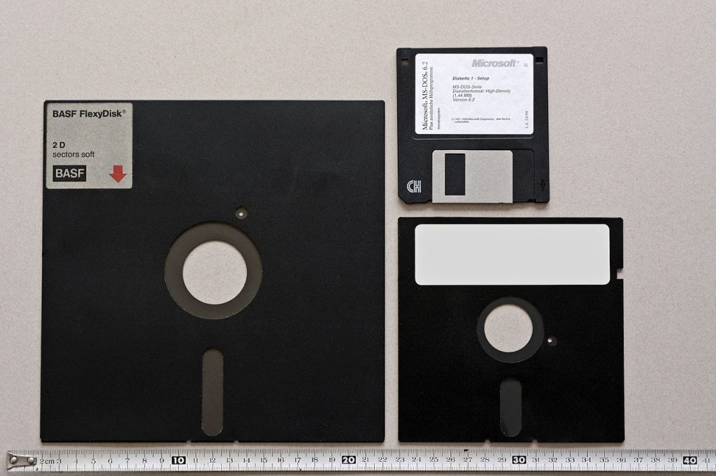 Three generations of floppy disk. By Hubert Berberich (HubiB) - Own work, Public Domain, https://commons.wikimedia.org/w/index.php?curid=27217977