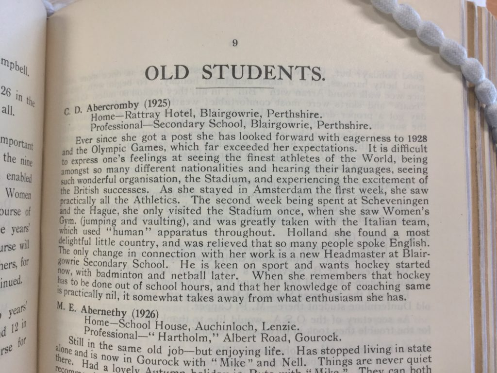 Excerpt from Dunfermline College of Hygiene and Physical Education, 'Old Students' Association Reports 1912-1936'